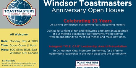 Windsor Toastmasters Anniversary Open House tickets