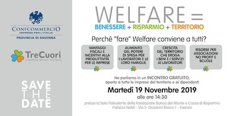Welfare = Benessere + Risparmio + Territorio biglietti