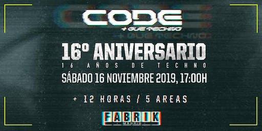 Code 16 Aniversario en FABRIK