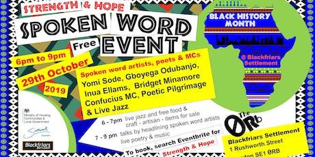 'Strength & Hope' Black History Spoken Word event @ Blackfriars Settlement tickets