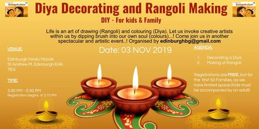 Diya Decorating and Rangoli Making