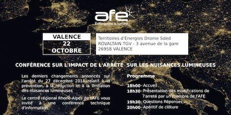 AFE 26/11 : Conférence technique d'information sur les derniers changements de  l'arrêté sur les nuisances lumineuses billets