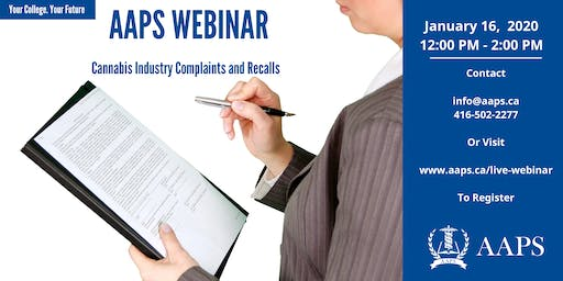 Live Webinar Cannabis Industry Complaints and Recalls