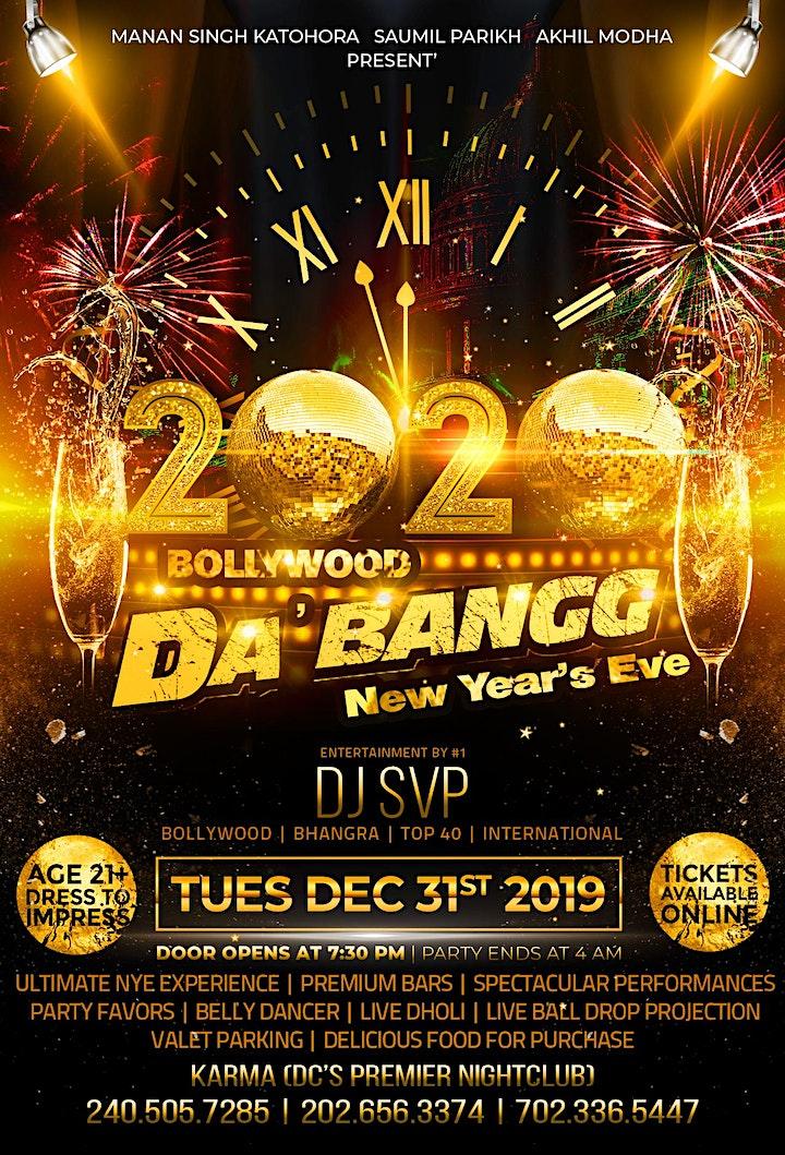 BOLLYWOOD DA'BANGG - Biggest 2020 NYE Event in Washington DC Metro image