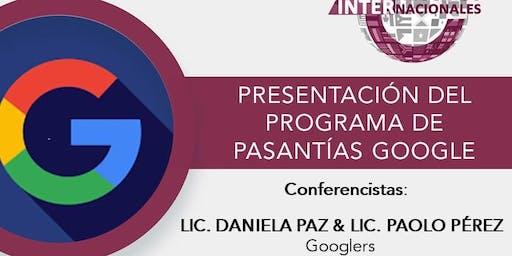 PRESENTACIÓN DEL PROGRAMA DE PASANTÍA DE GOOGLE
