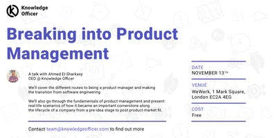 Breaking into Product Management