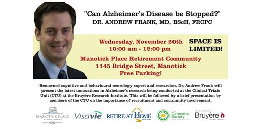 "Dr. Andrew Frank Presents ""Can Alzheimer's Disease Be Stopped?"""