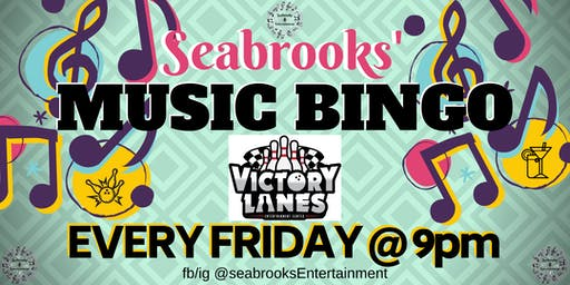SEABROOKS COSMIC MUSIC BINGO.OUT OF THIS WORLD FUN, MUSIC AND PRIZES!