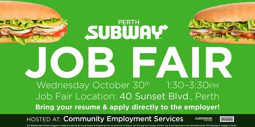 Job Fair: Subway restaurant in Perth
