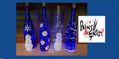"""Paint and Enjoy at Old Republic Distillery """"Winter Wine Bottle"""" with lights"""