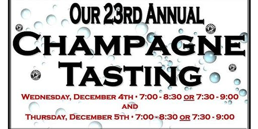 Our 23rd Annual Champagne & Sparkling Wine Tasting 12/4/19 from 7:00-8:30!