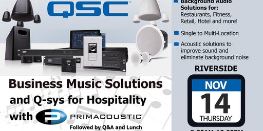 Business Music Solutions & Qsys for Hospitality -Riverside- Volutone