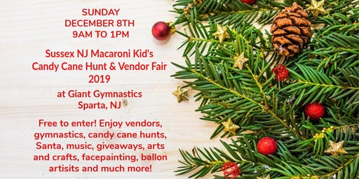 Candy Cane Hunt & Vendor Fair at Giant Gymnastics, Sparta NJ
