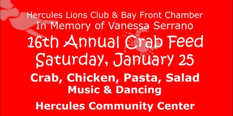 Hercules Lions Club & Bay Front Chamber of Commerce CRAB FEED tickets