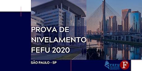Prova de nivelamento FEFU 2020 ingressos