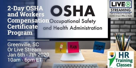 2-Day OSHA and Workers Compensation Certificate Program (Starts 1/6/2020) tickets