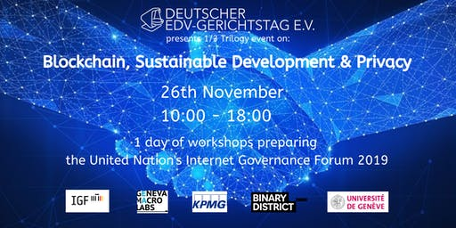 1 day of workshops on Blockchain, Sustainable Development and Privacy
