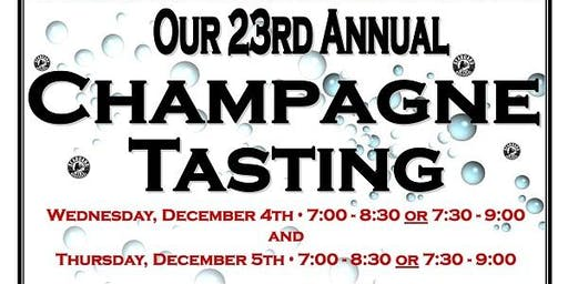 Our 23rd Annual Champagne & Sparkling Wine Tasting 12/4/19 from 7:30-9:00!
