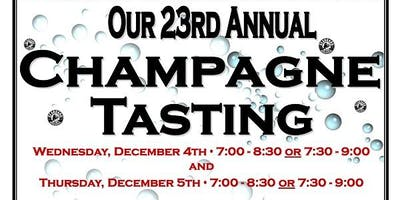 Our 23rd Annual Champagne & Sparkling Wine Tasting 12/5/19 from 7:00-8:30!
