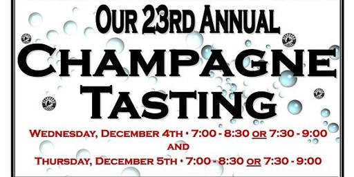 Our 23rd Annual Champagne & Sparkling Wine Tasting 12/5/19 from 7:30-9:00!