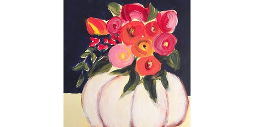 "Acrylic Painting Workshop, ""Flora's Pumpkin"" on Canvas, Artist's Studio, Painting Class, Oakville, Bronte"