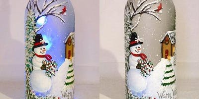 Holiday Lighted Wine Bottle Painting Event