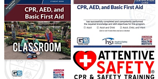 CPR, AED and Basic First Aid Class, $80, Same day ASHI card