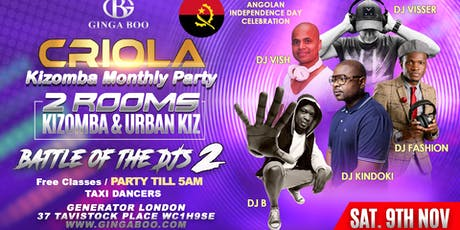 Criola Kizomba Monthly Saturday Party 9th Nov / 2ROOMS  tickets