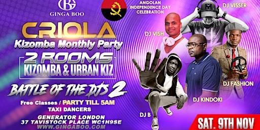 Criola Kizomba Monthly Saturday Party 9th Nov / 2ROOMS