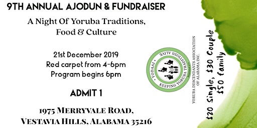 9th ANNUAL YODAAI END OF YEAR  PARTY (AJODUN) AND FUNDRAISER