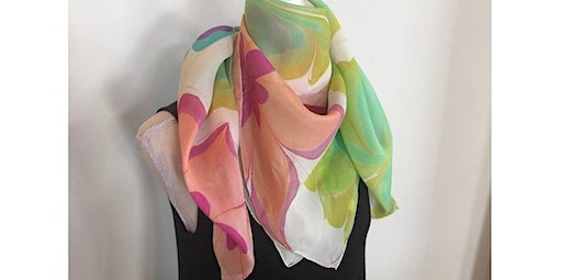 """Learn to Marble on Silk - 32"""" Square Scarf, Table Topper or Cover-Up  (01-17-2020 starts at 7:00 PM)"""