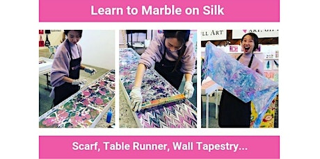 "Learn to Marble on Silk - 14"" x 72"" Scarf, Table Runner or Wall Tapestry  (09-26-2020 starts at 1:30 PM) tickets"