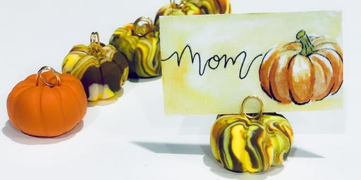Clay Pumpkin Place Card Holders with Hand Lettered Name Cards Workshop