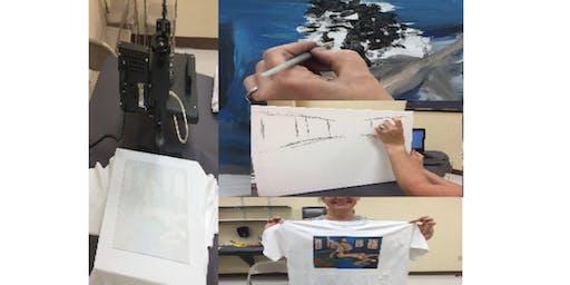 Blueness End Computer Arts Cafe Art Expression T-Shirt Design Class