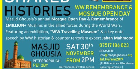 SHARED HISTORIES WW REMEMBRANCE & MOSQUE OPEN DAY tickets