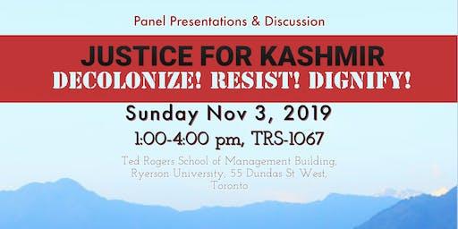 Justice for Kashmir: Decolonize! Resist! Dignify! Panel Event