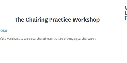 The Chairing Practice Workshop (In-House)