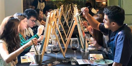 Singapore Skyline Paint & Wine Workshop