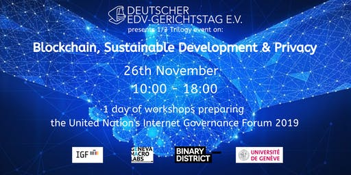 1 day of workshops on Blockchain, Sustainable Development & Privacy