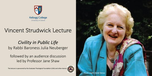 Kellogg College's Vincent Strudwick Lecture with Rabbi Baroness Neuberger