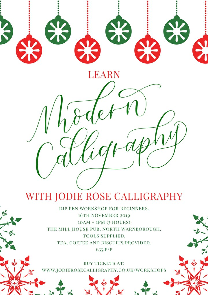 Christmas Calligraphy.Modern Calligraphy Workshop For Beginners Dip Pen Christmas Special