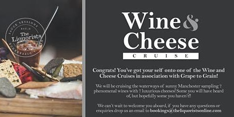 (3/50 Left) Wine & Cheese Tasting Cruise! 1pm (The Liquorists)
