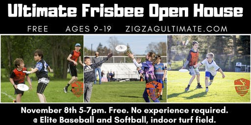 Ultimate Frisbee Open House: Free Drop-in and Learn to play. Ages 9-19.