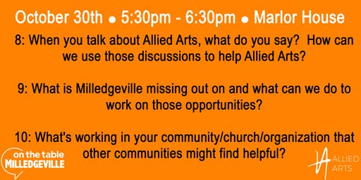 On the Table Milledgeville: Allied Arts (5:30 PM)