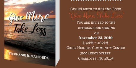 """""""Give More~Take Less"""" Book-signing Shower with Author tickets"""