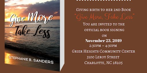 """""""Give More~Take Less"""" Book-signing Shower with Author"""
