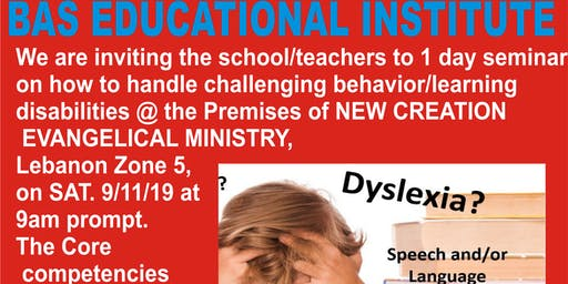 ONE DAY SEMINAR ON HOW TO HANDLE CHALLENGING BEHAVIOUR OF LEARNERS