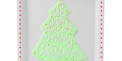 Ceramic Christmas Tree Plate w/Jennifer