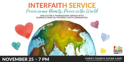 Interfaith Service: Peace In Our Hearts, Peace In The World