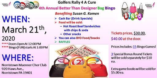 Golfers Rally 4 A Cure  4th Annual Designer Bag Bingo